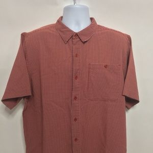 North Face Red & White SS Button Shirt Men's 2XL